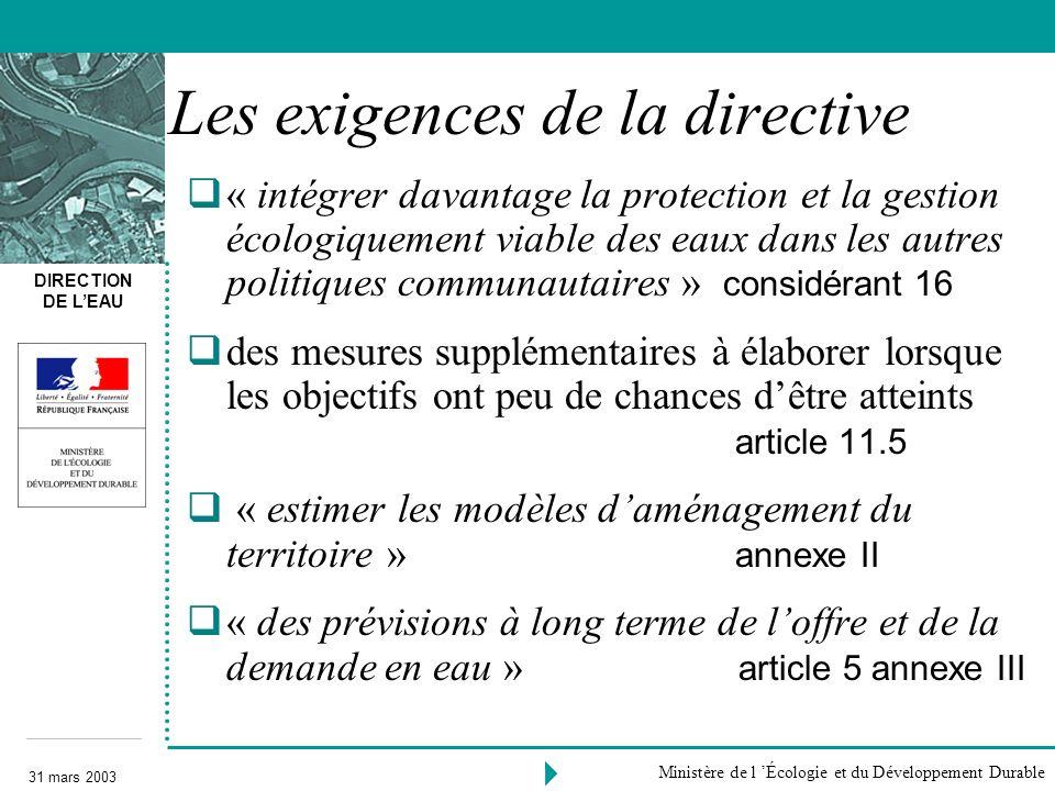 DIRECTION DE LEAU 31 mars 2003 Ministère de l Écologie et du Développement Durable Les exigences de la directive « intégrer davantage la protection et
