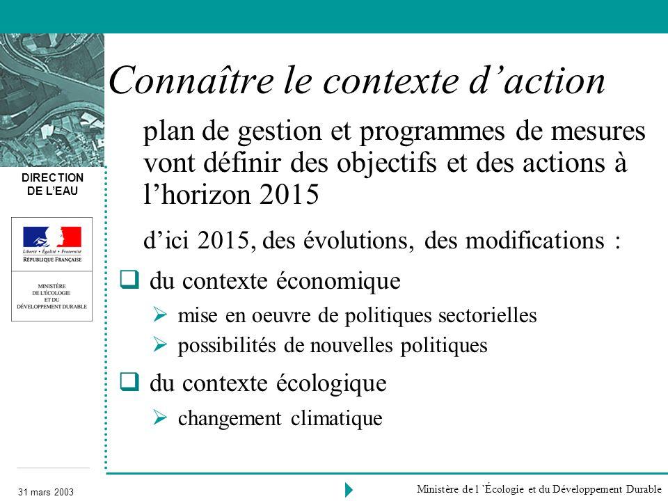 DIRECTION DE LEAU 31 mars 2003 Ministère de l Écologie et du Développement Durable Connaître le contexte daction plan de gestion et programmes de mesu