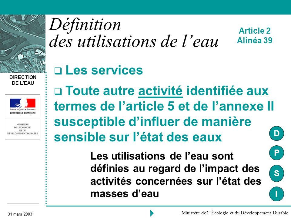 DIRECTION DE LEAU 31 mars 2003 Ministère de l Écologie et du Développement Durable Les services Toute autre activité identifiée aux termes de larticle