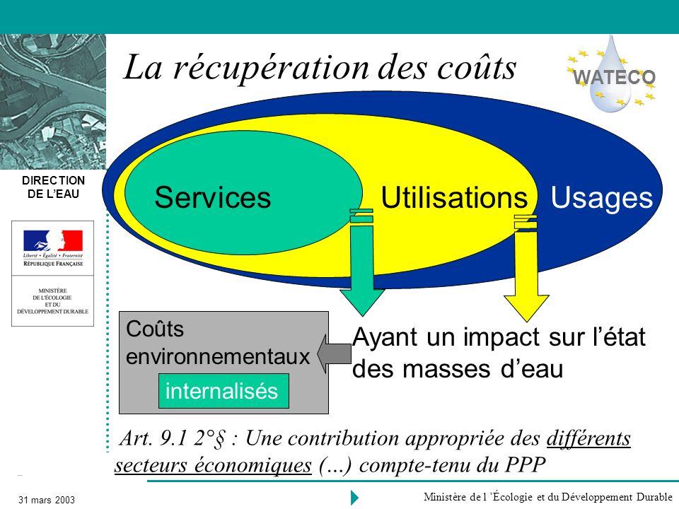 DIRECTION DE LEAU 31 mars 2003 Ministère de l Écologie et du Développement Durable ServicesUsagesUtilisations La récupération des coûts Ayant un impac