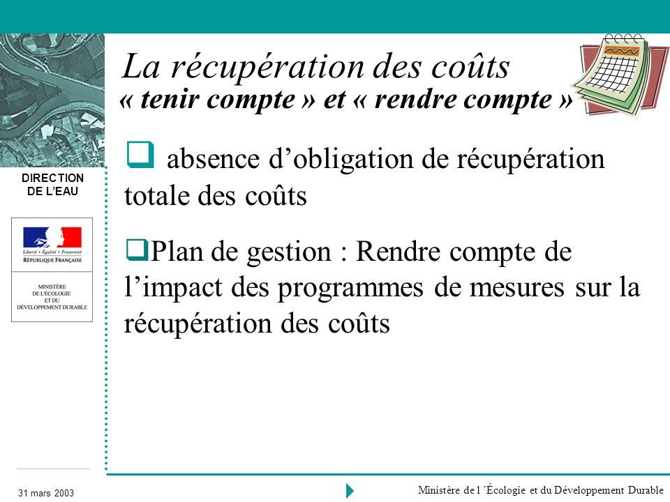 DIRECTION DE LEAU 31 mars 2003 Ministère de l Écologie et du Développement Durable « tenir compte » et « rendre compte » La récupération des coûts abs