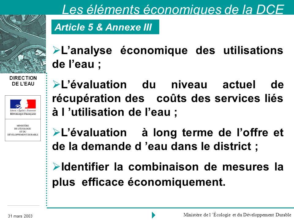 DIRECTION DE LEAU 31 mars 2003 Ministère de l Écologie et du Développement Durable Lanalyse économique des utilisations de leau ; Lévaluation du nivea