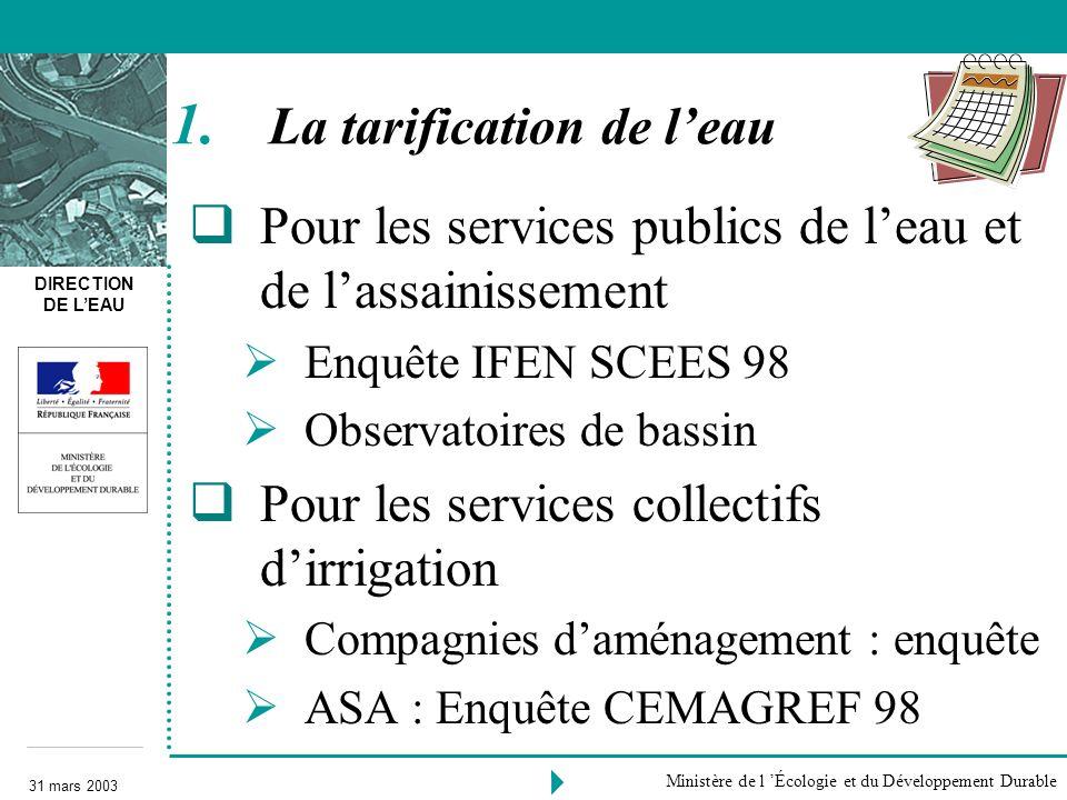 DIRECTION DE LEAU 31 mars 2003 Ministère de l Écologie et du Développement Durable Pour les services publics de leau et de lassainissement Enquête IFE