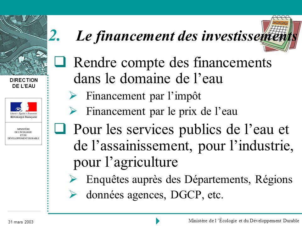 DIRECTION DE LEAU 31 mars 2003 Ministère de l Écologie et du Développement Durable Rendre compte des financements dans le domaine de leau Financement