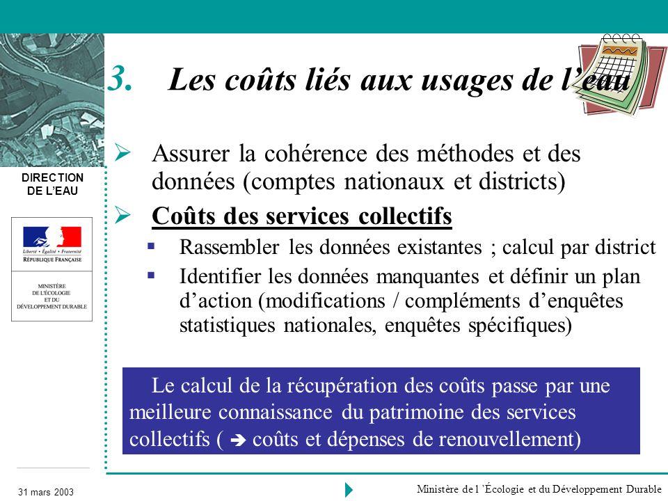 DIRECTION DE LEAU 31 mars 2003 Ministère de l Écologie et du Développement Durable Assurer la cohérence des méthodes et des données (comptes nationaux