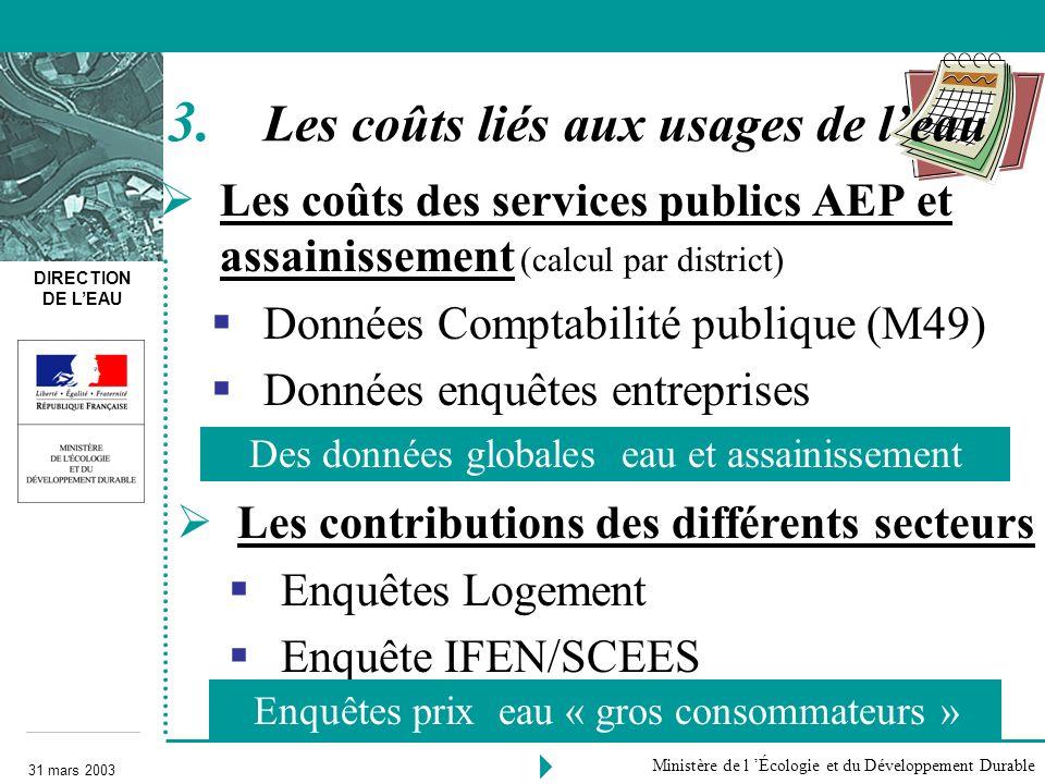 DIRECTION DE LEAU 31 mars 2003 Ministère de l Écologie et du Développement Durable Les coûts des services publics AEP et assainissement (calcul par di