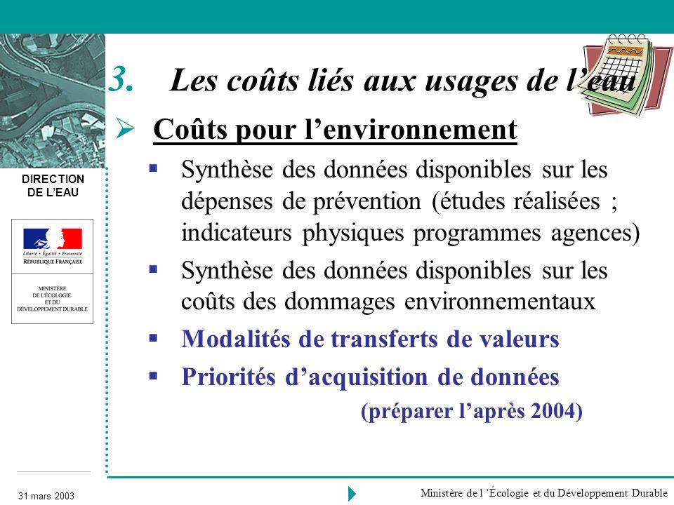 DIRECTION DE LEAU 31 mars 2003 Ministère de l Écologie et du Développement Durable Coûts pour lenvironnement Synthèse des données disponibles sur les
