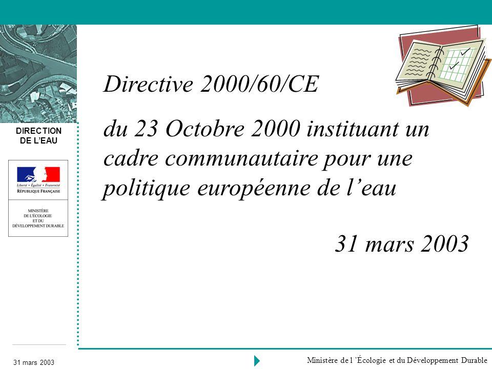 DIRECTION DE LEAU 31 mars 2003 Ministère de l Écologie et du Développement Durable Directive 2000/60/CE du 23 Octobre 2000 instituant un cadre communa