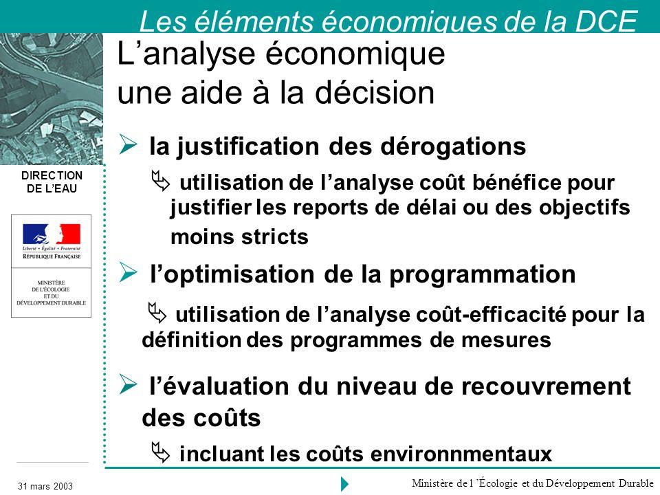 DIRECTION DE LEAU 31 mars 2003 Ministère de l Écologie et du Développement Durable Lanalyse économique une aide à la décision la justification des dér