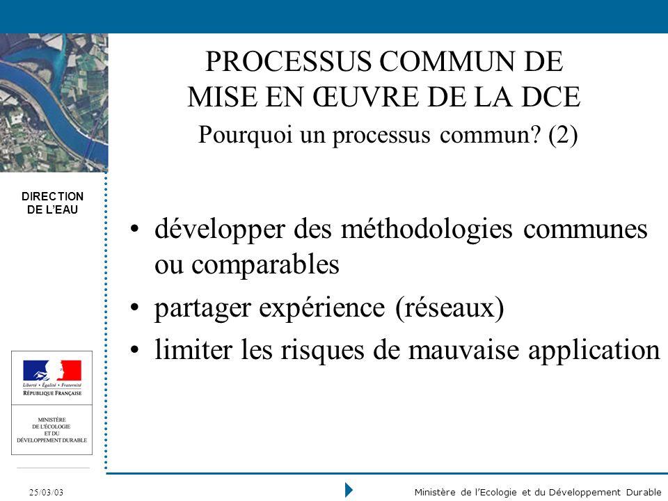 DIRECTION DE LEAU 25/03/03 Ministère de lEcologie et du Développement Durable PROCESSUS COMMUN DE MISE EN ŒUVRE DE LA DCE Pourquoi un processus commun.