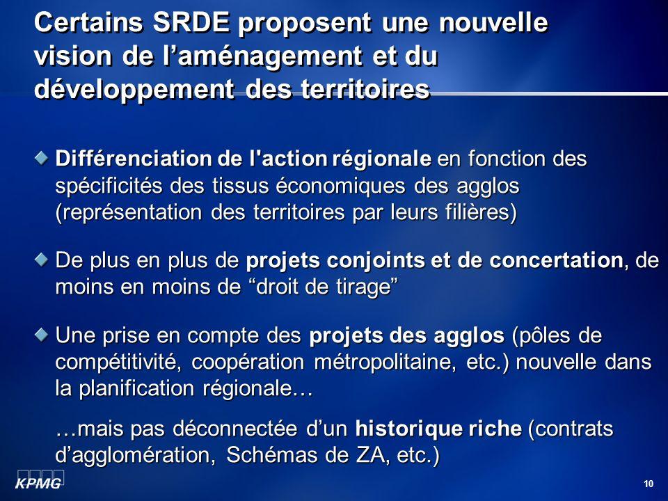 10 Certains SRDE proposent une nouvelle vision de laménagement et du développement des territoires Différenciation de l'action régionale en fonction d
