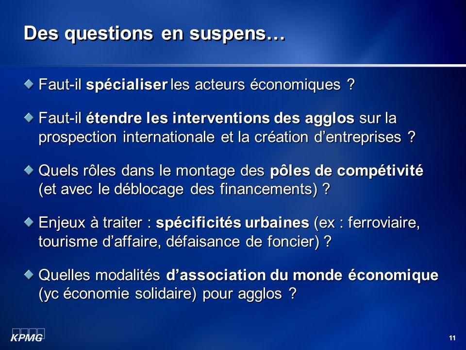 11 Des questions en suspens… Faut-il spécialiser les acteurs économiques ? Faut-il étendre les interventions des agglos sur la prospection internation