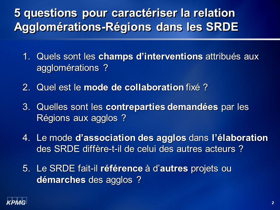 2 5 questions pour caractériser la relation Agglomérations-Régions dans les SRDE 1.Quels sont les champs dinterventions attribués aux agglomérations ?