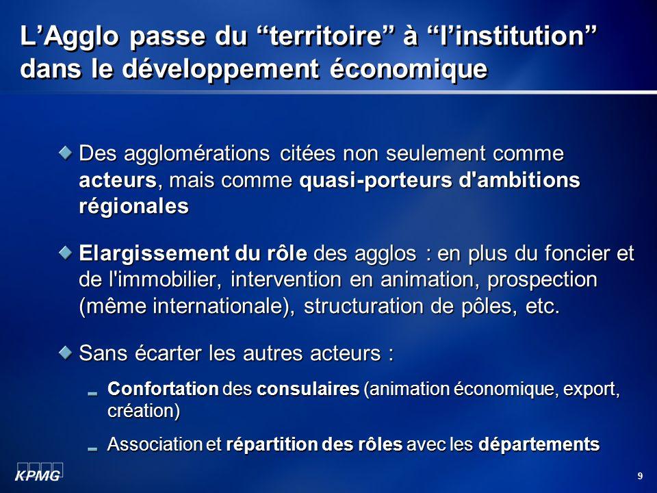 9 LAgglo passe du territoire à linstitution dans le développement économique Des agglomérations citées non seulement comme acteurs, mais comme quasi p