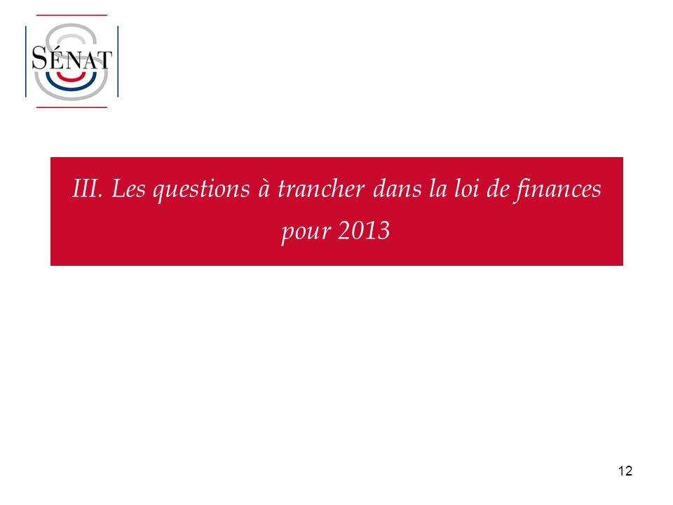 12 III. Les questions à trancher dans la loi de finances pour 2013