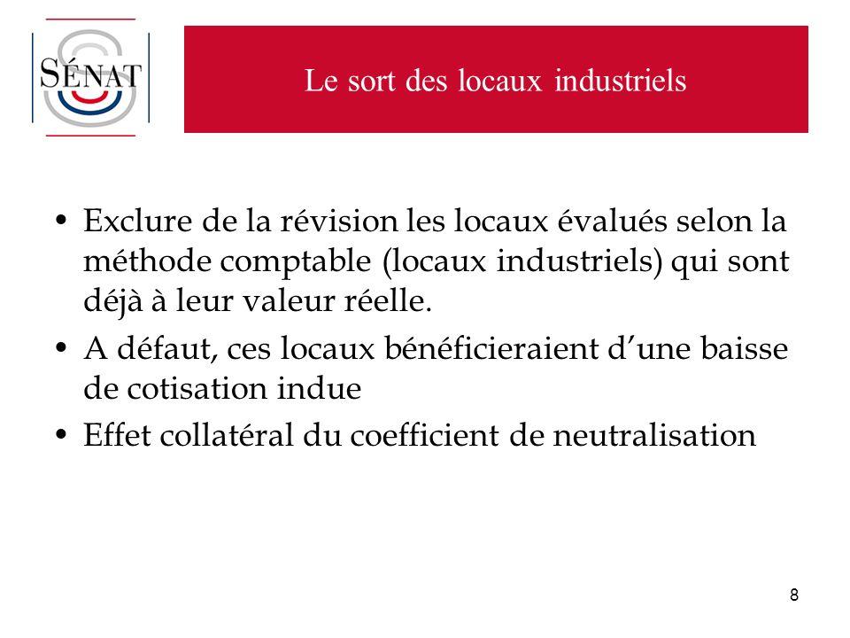 8 Le sort des locaux industriels Exclure de la révision les locaux évalués selon la méthode comptable (locaux industriels) qui sont déjà à leur valeur réelle.