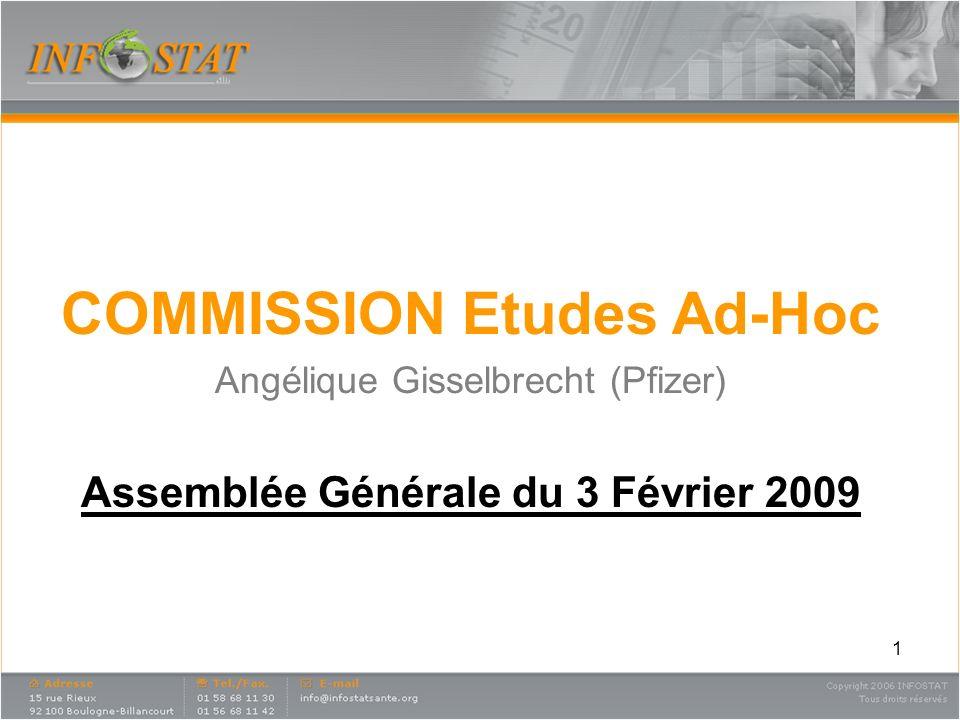 1 COMMISSION Etudes Ad-Hoc Angélique Gisselbrecht (Pfizer) Assemblée Générale du 3 Février 2009