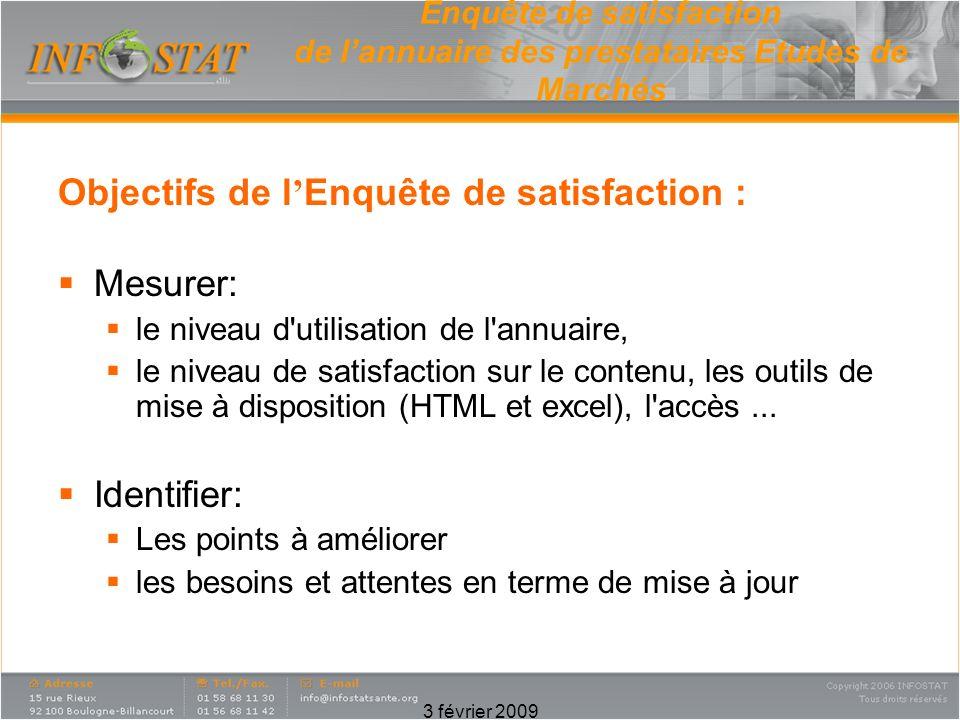 3 février 2009 Enquête de satisfaction de lannuaire des prestataires Etudes de Marchés Objectifs de l Enquête de satisfaction : Mesurer: le niveau d'u