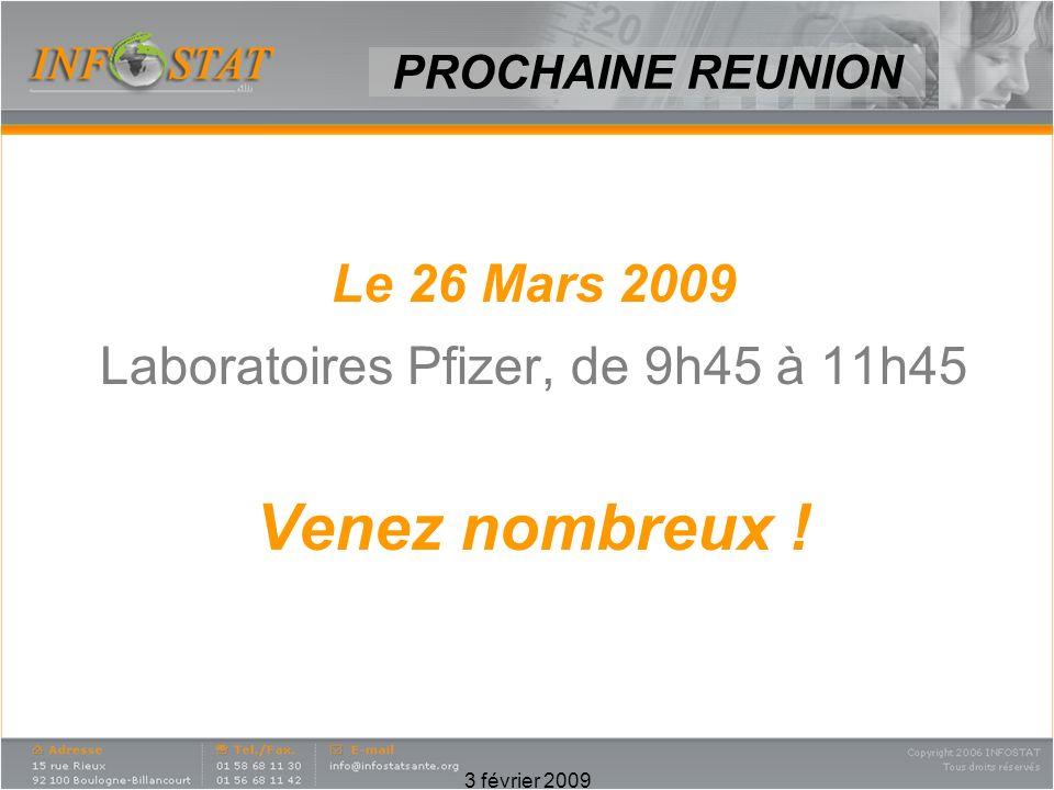 3 février 2009 Le 26 Mars 2009 Laboratoires Pfizer, de 9h45 à 11h45 Venez nombreux ! PROCHAINE REUNION