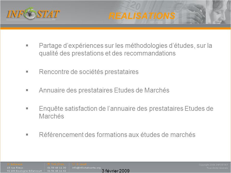 3 février 2009 REALISATIONS Partage dexpériences sur les méthodologies détudes, sur la qualité des prestations et des recommandations Rencontre de soc