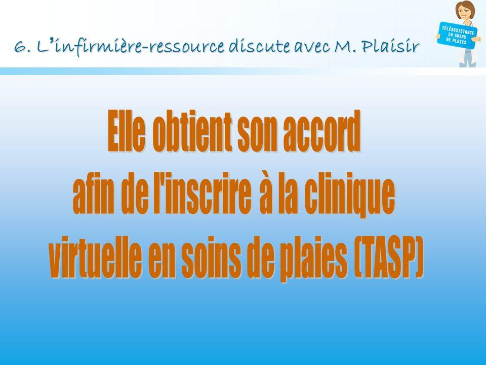 6. Linfirmière-ressource discute avec M. Plaisir