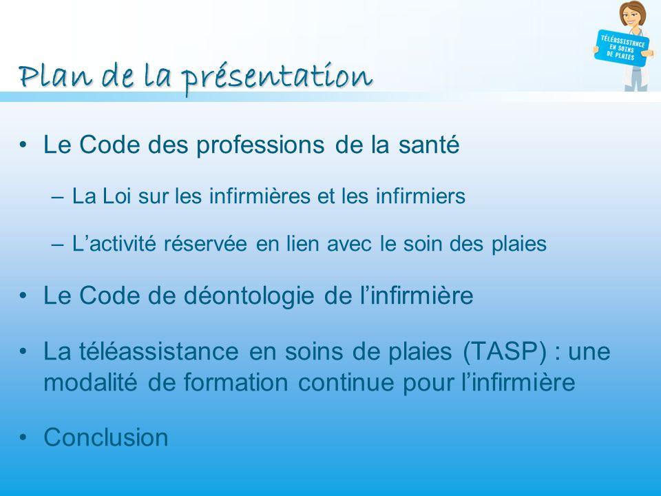 Plan de la présentation Le Code des professions de la santé –La Loi sur les infirmières et les infirmiers –Lactivité réservée en lien avec le soin des