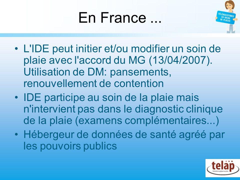 En France... L'IDE peut initier et/ou modifier un soin de plaie avec l'accord du MG (13/04/2007). Utilisation de DM: pansements, renouvellement de con