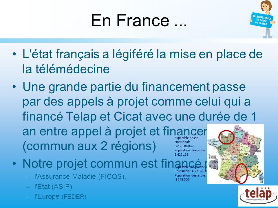 En France... L'état français a légiféré la mise en place de la télémédecine Une grande partie du financement passe par des appels à projet comme celui