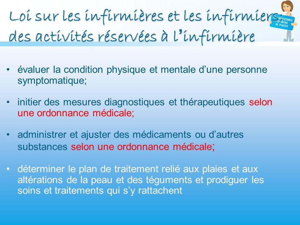 Loi sur les infirmières et les infirmiers: des activités réservées à linfirmière évaluer la condition physique et mentale dune personne symptomatique;