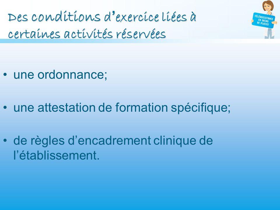 Des conditions dexercice liées à certaines activités réservées une ordonnance; une attestation de formation spécifique; de règles dencadrement cliniqu