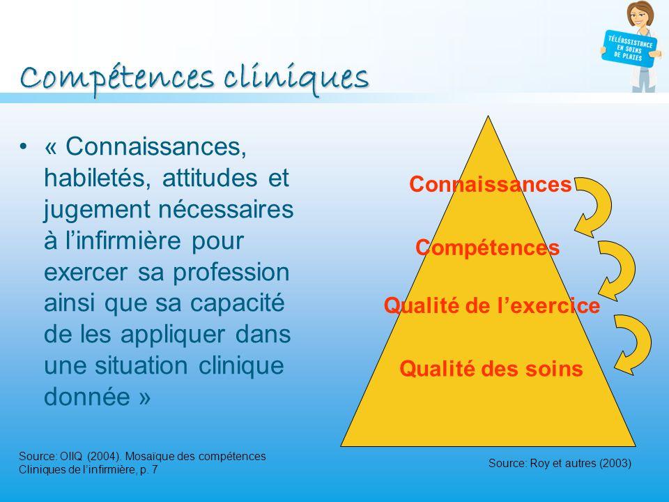 Compétences cliniques « Connaissances, habiletés, attitudes et jugement nécessaires à linfirmière pour exercer sa profession ainsi que sa capacité de