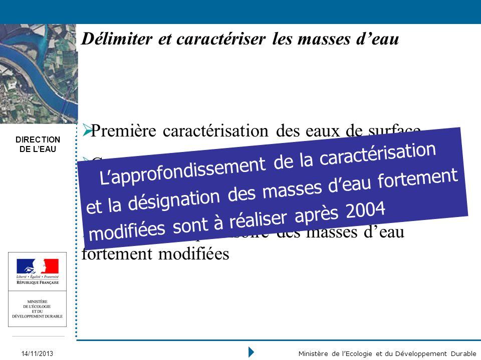 DIRECTION DE LEAU 14/11/2013 Ministère de lEcologie et du Développement Durable Première caractérisation des eaux de surface Caractérisation initiale
