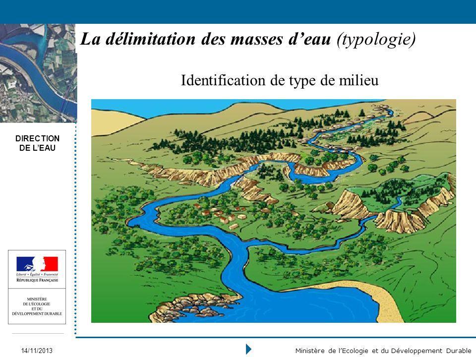 DIRECTION DE LEAU 14/11/2013 Ministère de lEcologie et du Développement Durable La délimitation des masses deau (typologie) Identification de type de