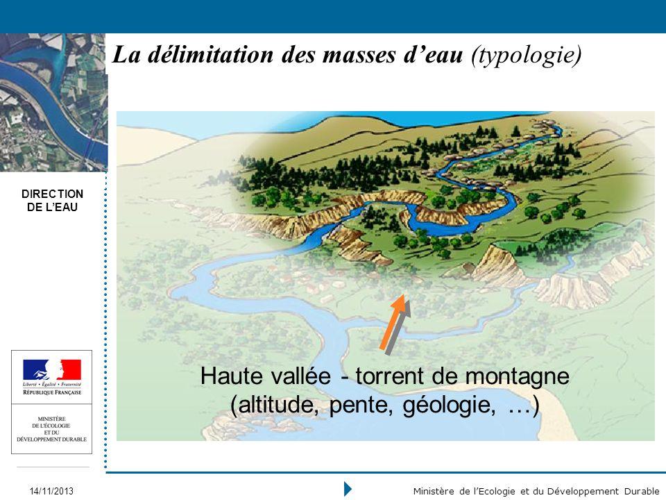 DIRECTION DE LEAU 14/11/2013 Ministère de lEcologie et du Développement Durable La délimitation des masses deau (typologie) Haute vallée - torrent de