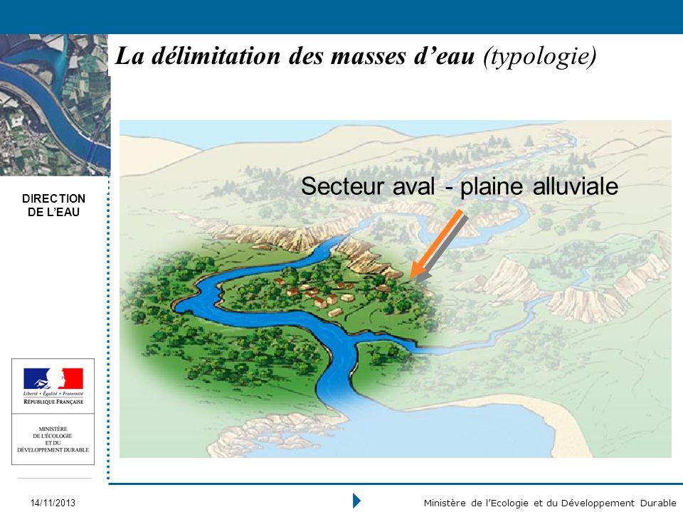 DIRECTION DE LEAU 14/11/2013 Ministère de lEcologie et du Développement Durable La délimitation des masses deau (typologie) Secteur aval - plaine allu