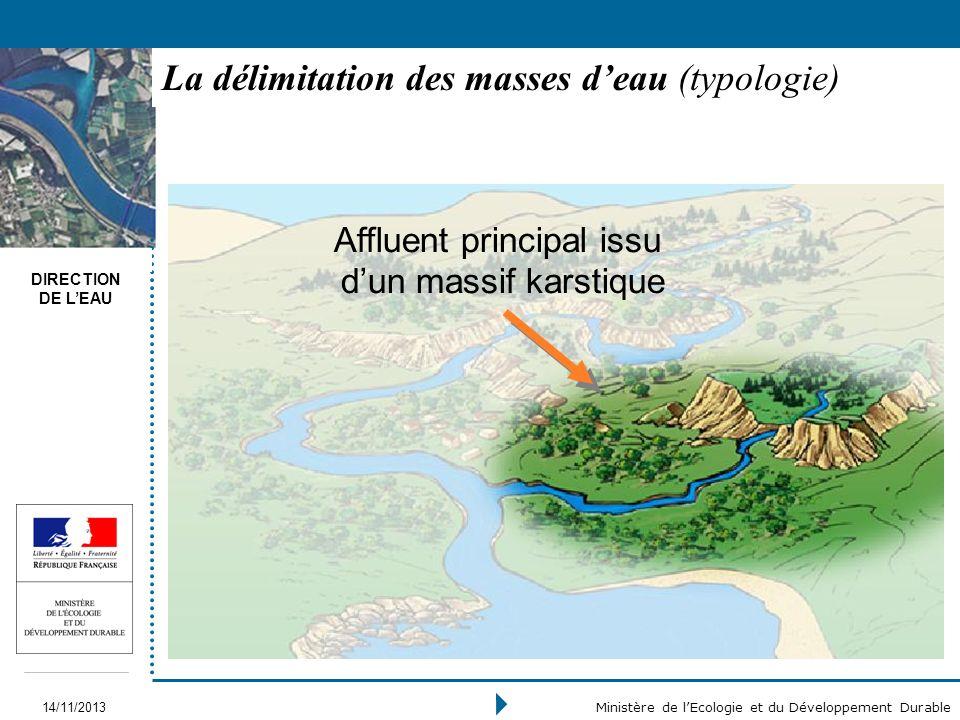 DIRECTION DE LEAU 14/11/2013 Ministère de lEcologie et du Développement Durable La délimitation des masses deau (typologie) Affluent principal issu du