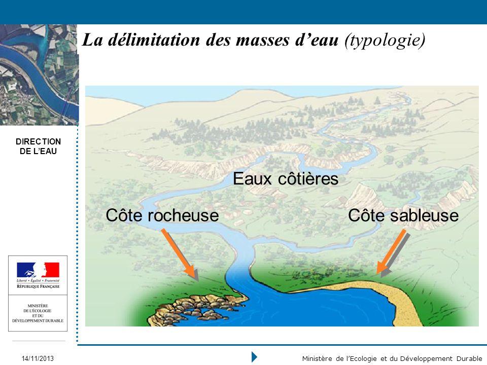 DIRECTION DE LEAU 14/11/2013 Ministère de lEcologie et du Développement Durable La délimitation des masses deau (typologie) Eaux côtières Côte rocheus