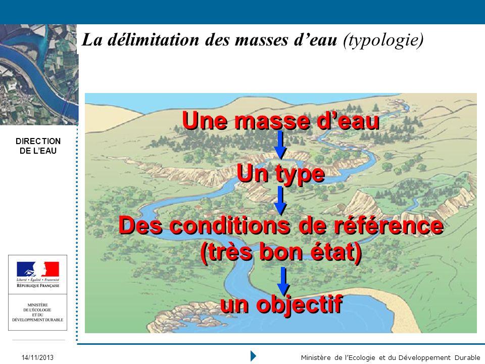 DIRECTION DE LEAU 14/11/2013 Ministère de lEcologie et du Développement Durable La délimitation des masses deau (typologie) Une masse deau Un type Des