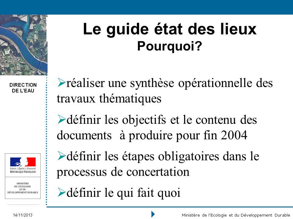 DIRECTION DE LEAU 14/11/2013 Ministère de lEcologie et du Développement Durable Le guide état des lieux Pourquoi? réaliser une synthèse opérationnelle