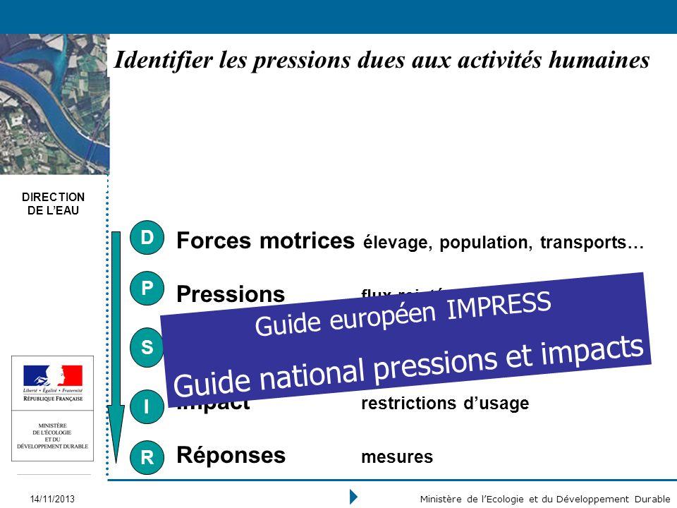 DIRECTION DE LEAU 14/11/2013 Ministère de lEcologie et du Développement Durable Forces motrices élevage, population, transports… Pressions flux rejeté