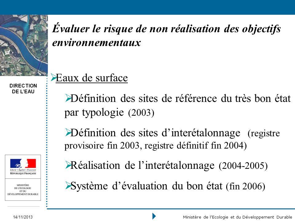 DIRECTION DE LEAU 14/11/2013 Ministère de lEcologie et du Développement Durable Évaluer le risque de non réalisation des objectifs environnementaux Ea