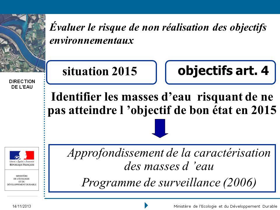 DIRECTION DE LEAU 14/11/2013 Ministère de lEcologie et du Développement Durable Évaluer le risque de non réalisation des objectifs environnementaux si