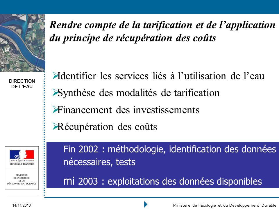 DIRECTION DE LEAU 14/11/2013 Ministère de lEcologie et du Développement Durable Rendre compte de la tarification et de lapplication du principe de réc