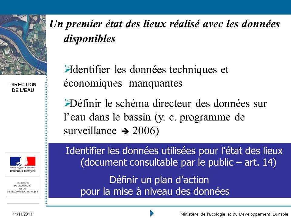 DIRECTION DE LEAU 14/11/2013 Ministère de lEcologie et du Développement Durable Identifier les données techniques et économiques manquantes Définir le