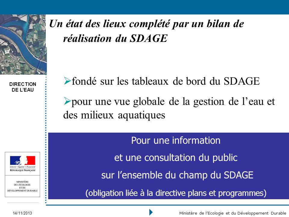DIRECTION DE LEAU 14/11/2013 Ministère de lEcologie et du Développement Durable fondé sur les tableaux de bord du SDAGE pour une vue globale de la ges