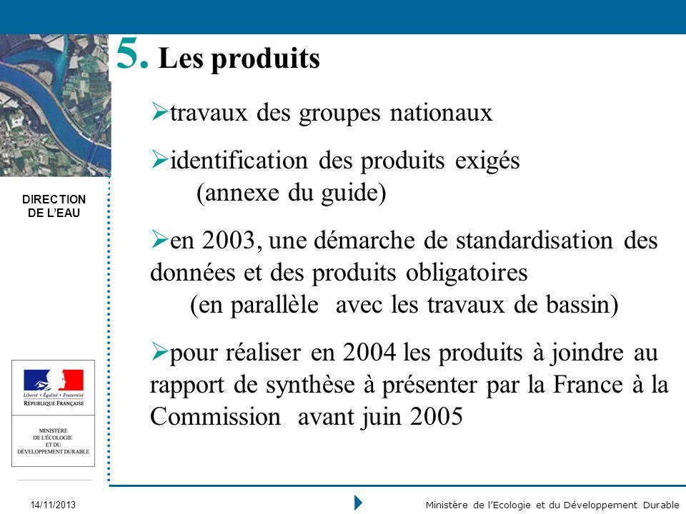 DIRECTION DE LEAU 14/11/2013 Ministère de lEcologie et du Développement Durable travaux des groupes nationaux identification des produits exigés (anne