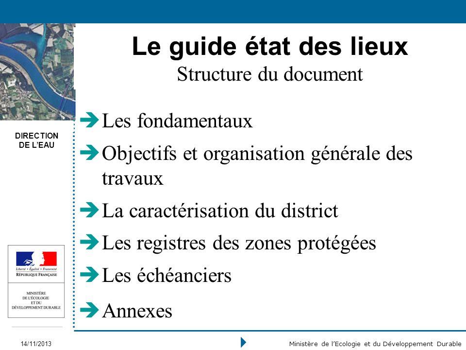 DIRECTION DE LEAU 14/11/2013 Ministère de lEcologie et du Développement Durable Le guide état des lieux Structure du document Les fondamentaux Objecti