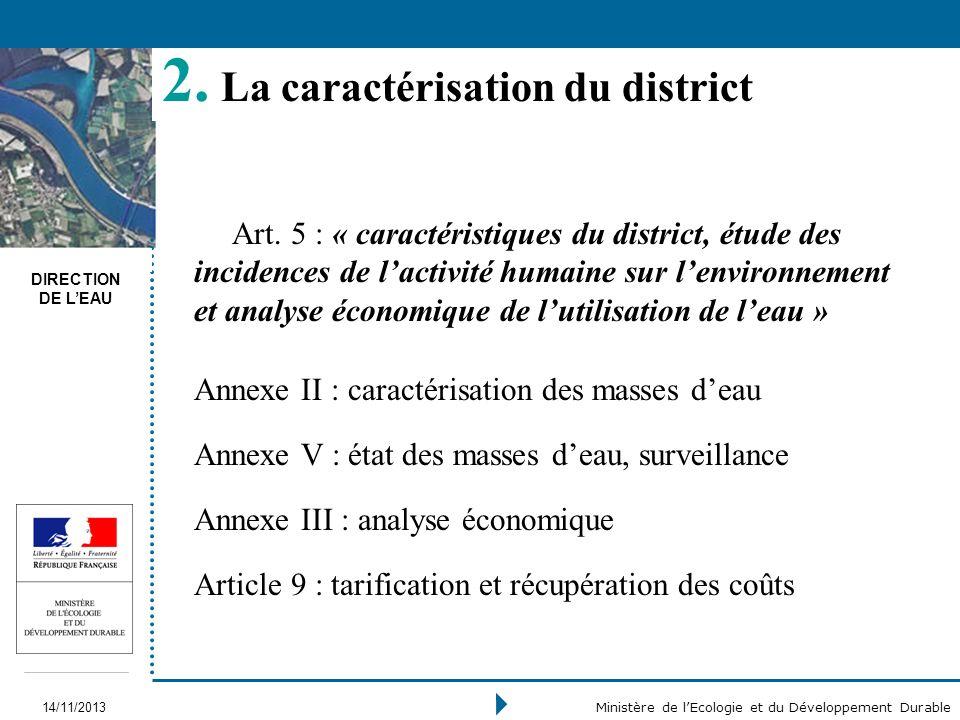 DIRECTION DE LEAU 14/11/2013 Ministère de lEcologie et du Développement Durable 2. La caractérisation du district Art. 5 : « caractéristiques du distr