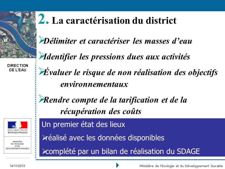 DIRECTION DE LEAU 14/11/2013 Ministère de lEcologie et du Développement Durable 2. La caractérisation du district Délimiter et caractériser les masses