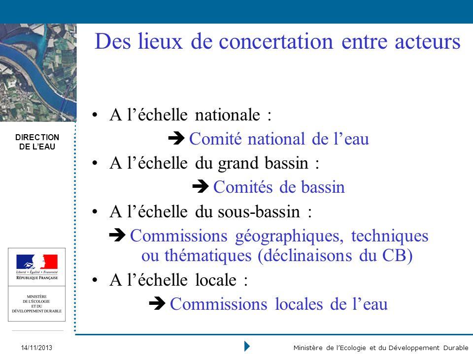 DIRECTION DE LEAU 14/11/2013 Ministère de lEcologie et du Développement Durable Des lieux de concertation entre acteurs A léchelle nationale : è Comit
